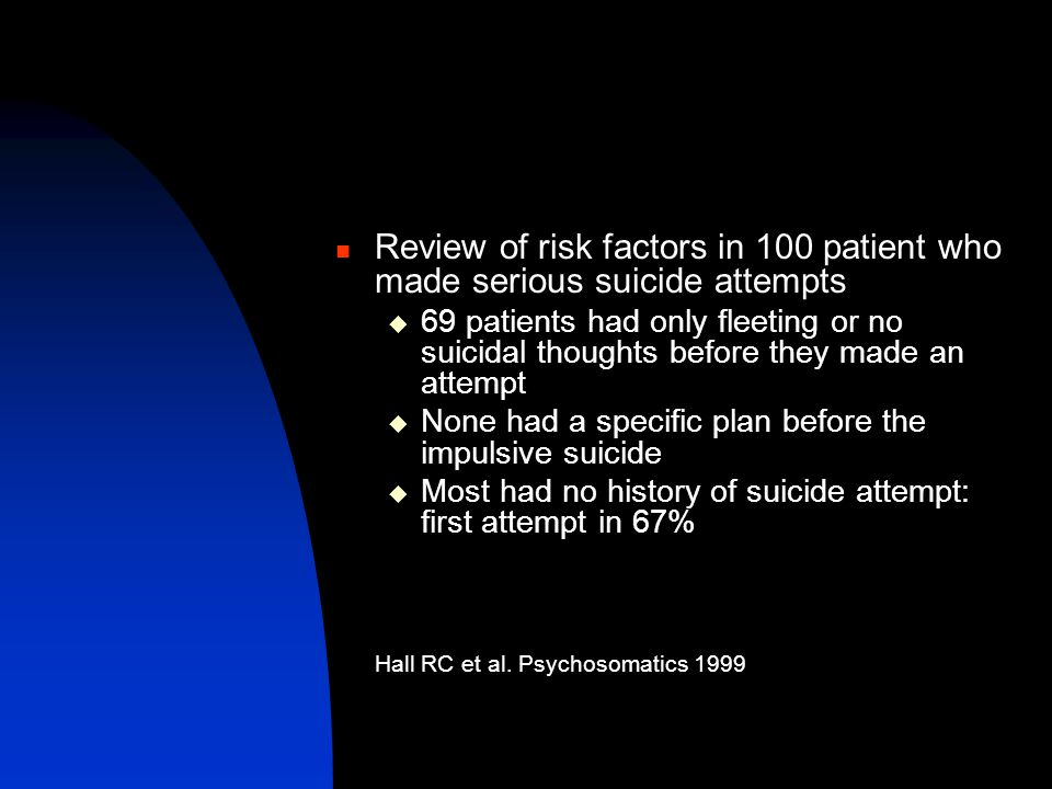 Review of risk factors in 100 patient who made serious suicide attempts