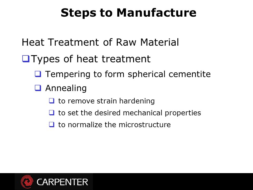 Steps to Manufacture Heat Treatment of Raw Material