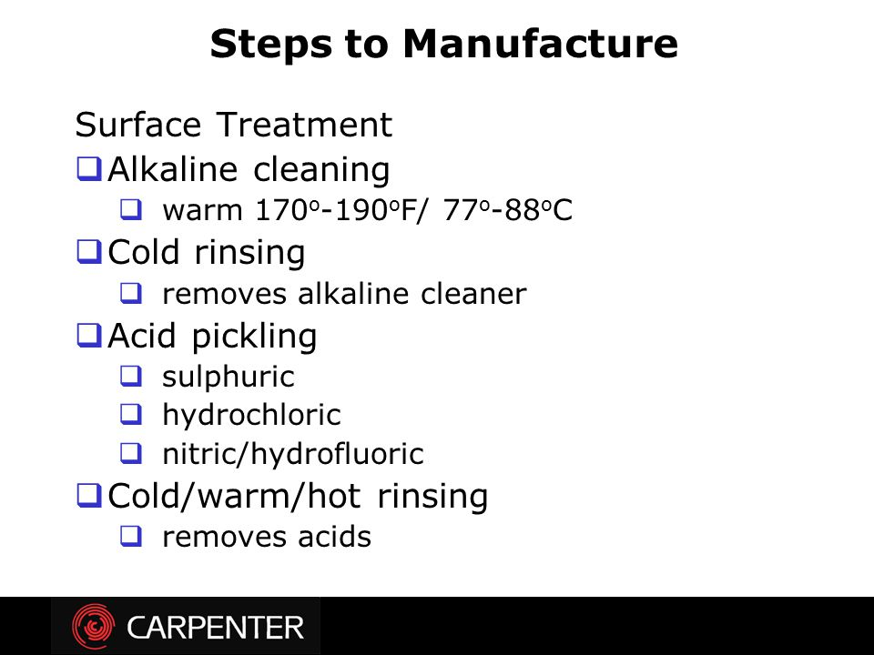 Steps to Manufacture Surface Treatment Alkaline cleaning Cold rinsing