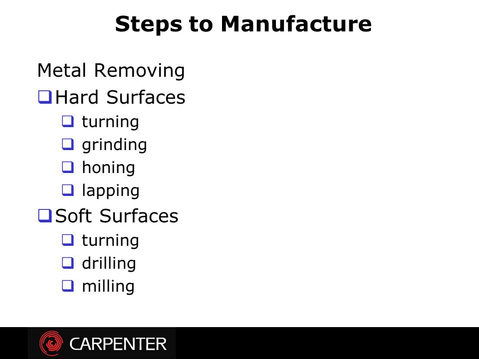 Steps to Manufacture Metal Removing Hard Surfaces Soft Surfaces