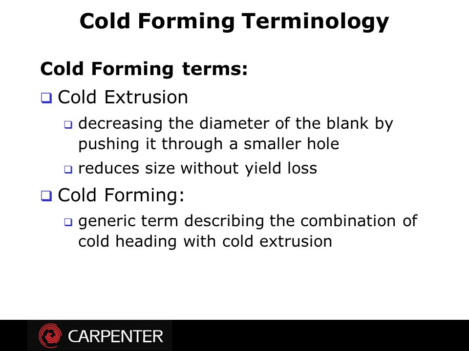 Cold Forming Terminology