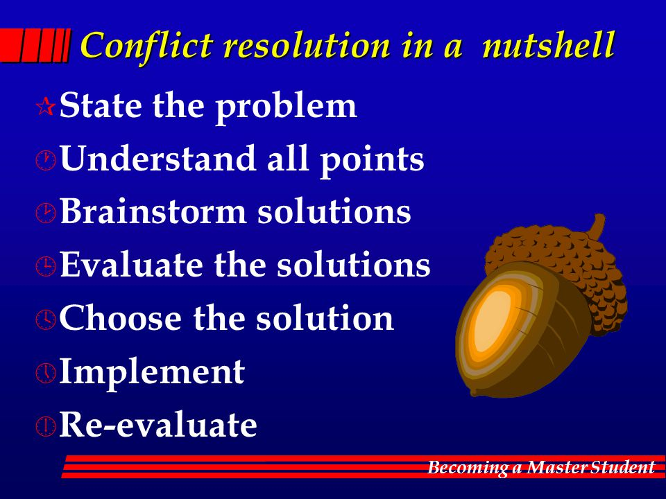 Conflict resolution in a nutshell