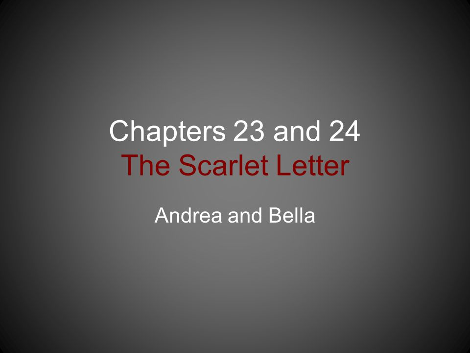 Chapters 23 and 24 The Scarlet Letter