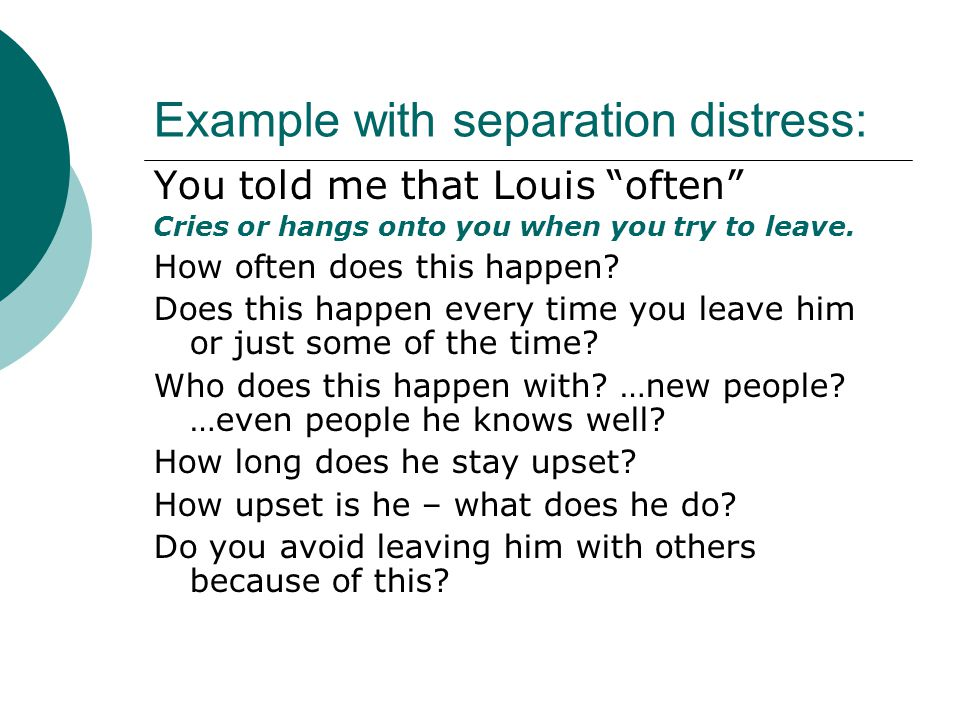 Example with separation distress: