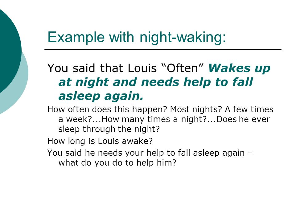Example with night-waking: