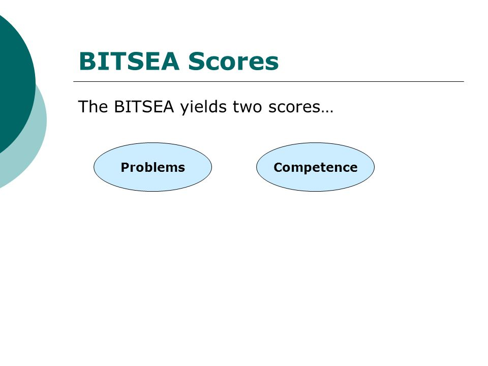 BITSEA Scores The BITSEA yields two scores… Problems Competence