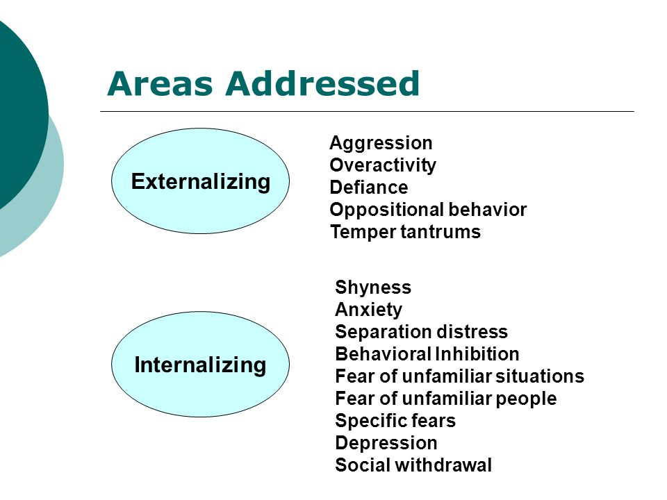 Areas Addressed Externalizing Internalizing Aggression Overactivity