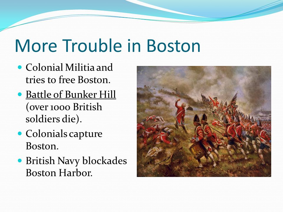 More Trouble in Boston Colonial Militia and tries to free Boston.