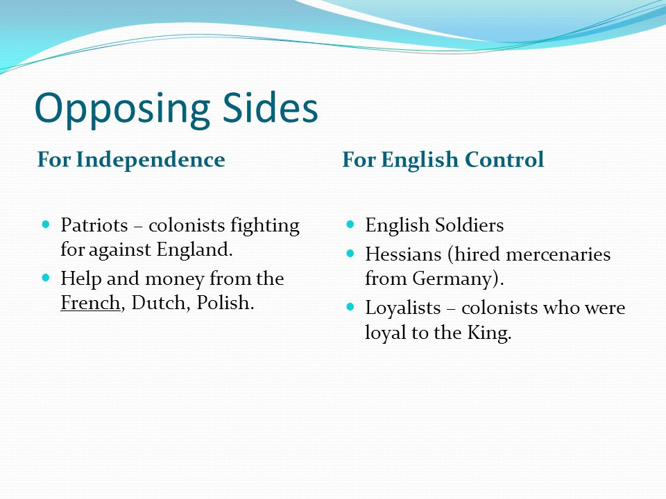 Opposing Sides For Independence For English Control