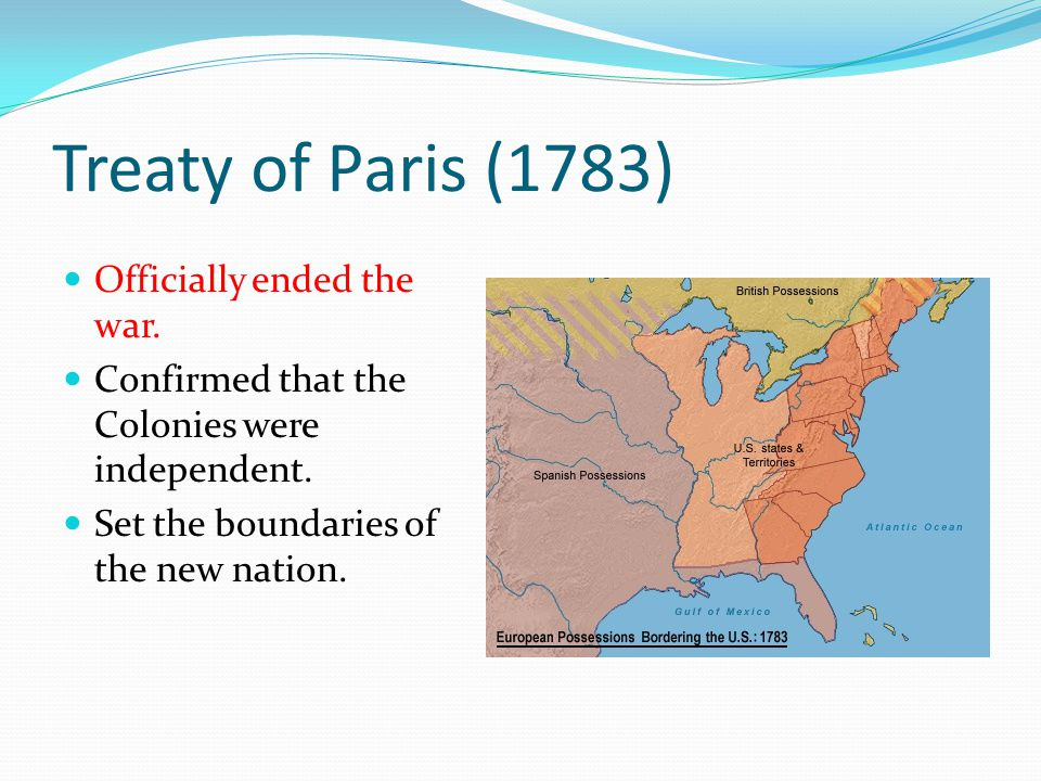 Treaty of Paris (1783) Officially ended the war.