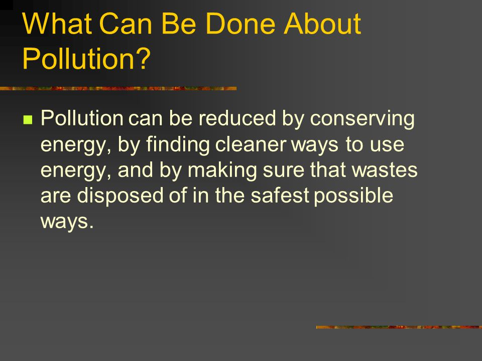 What Can Be Done About Pollution