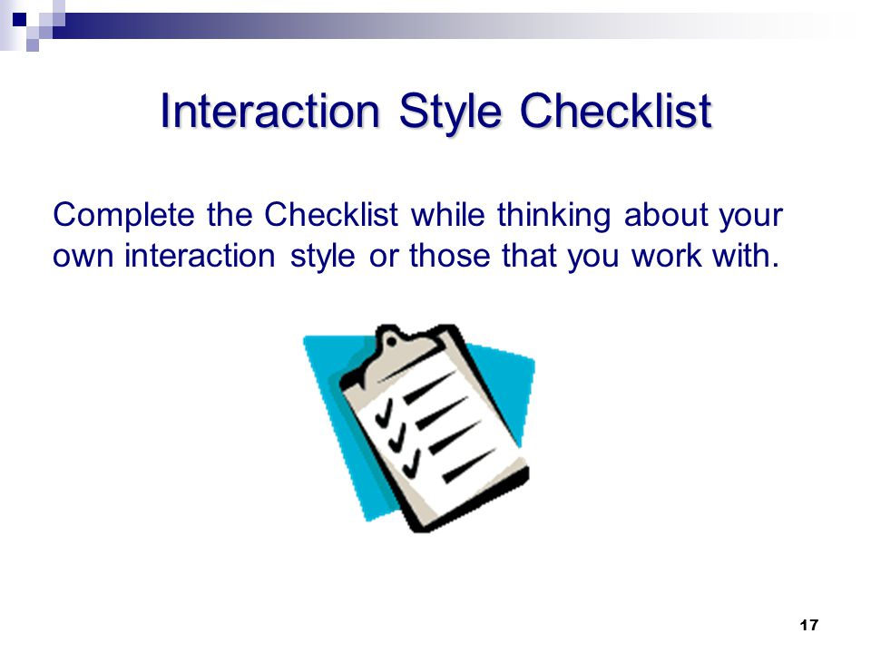 Interaction Style Checklist