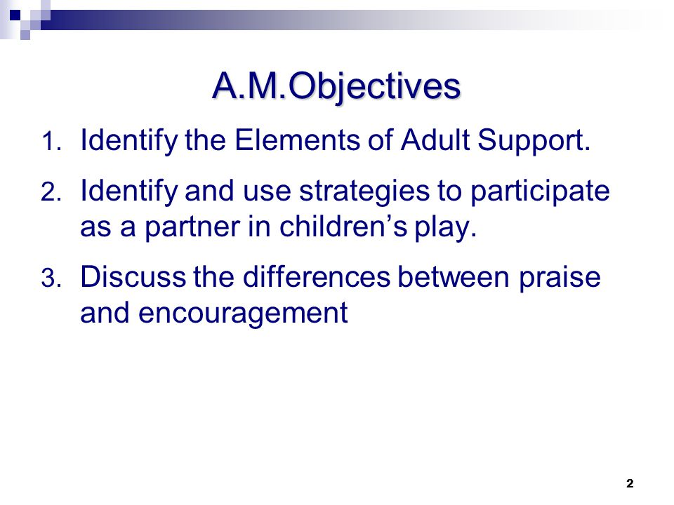 A.M.Objectives Identify the Elements of Adult Support.