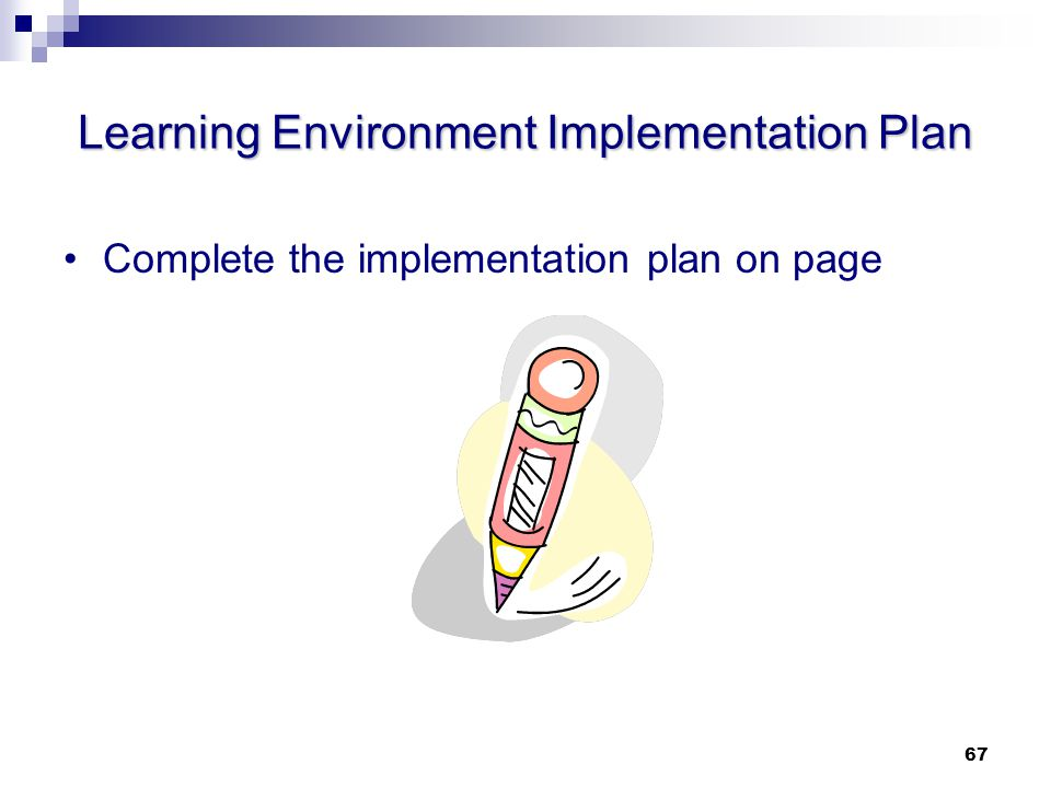 Learning Environment Implementation Plan