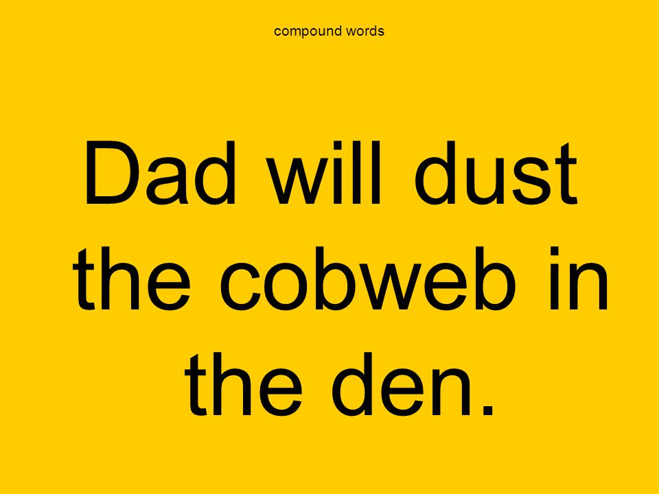 Dad will dust the cobweb in the den.