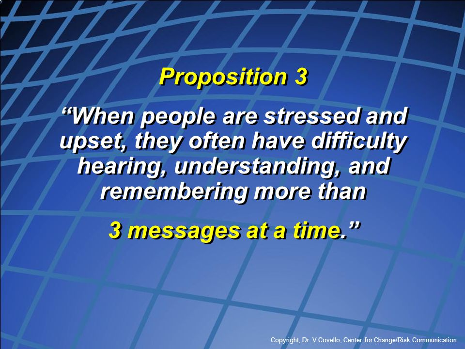 Proposition 3 When people are stressed and upset, they often have difficulty hearing, understanding, and remembering more than.