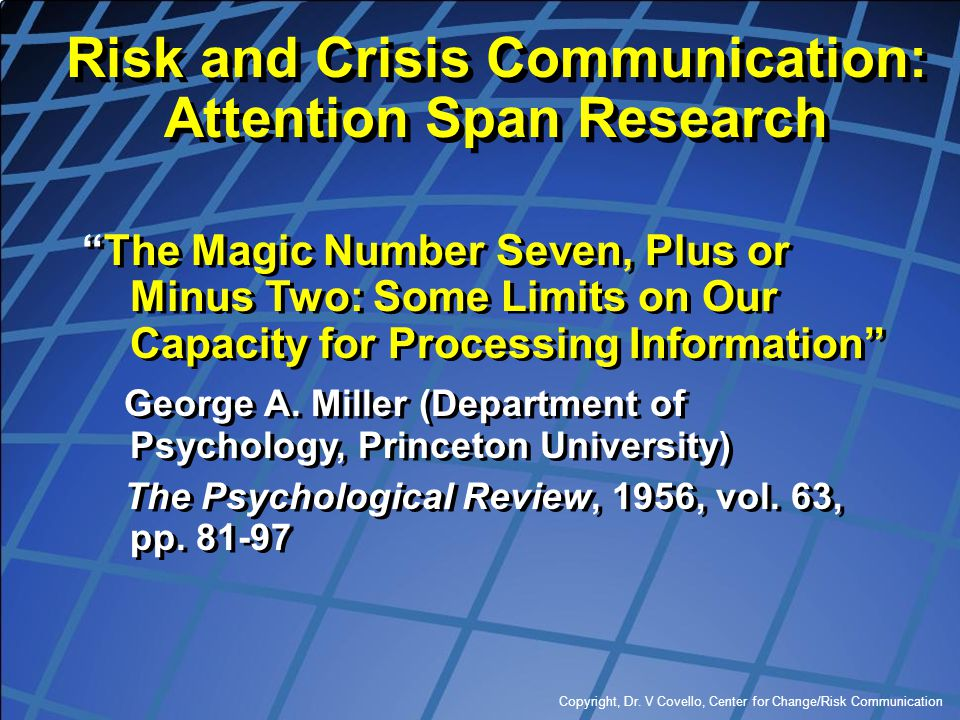 Risk and Crisis Communication: Attention Span Research