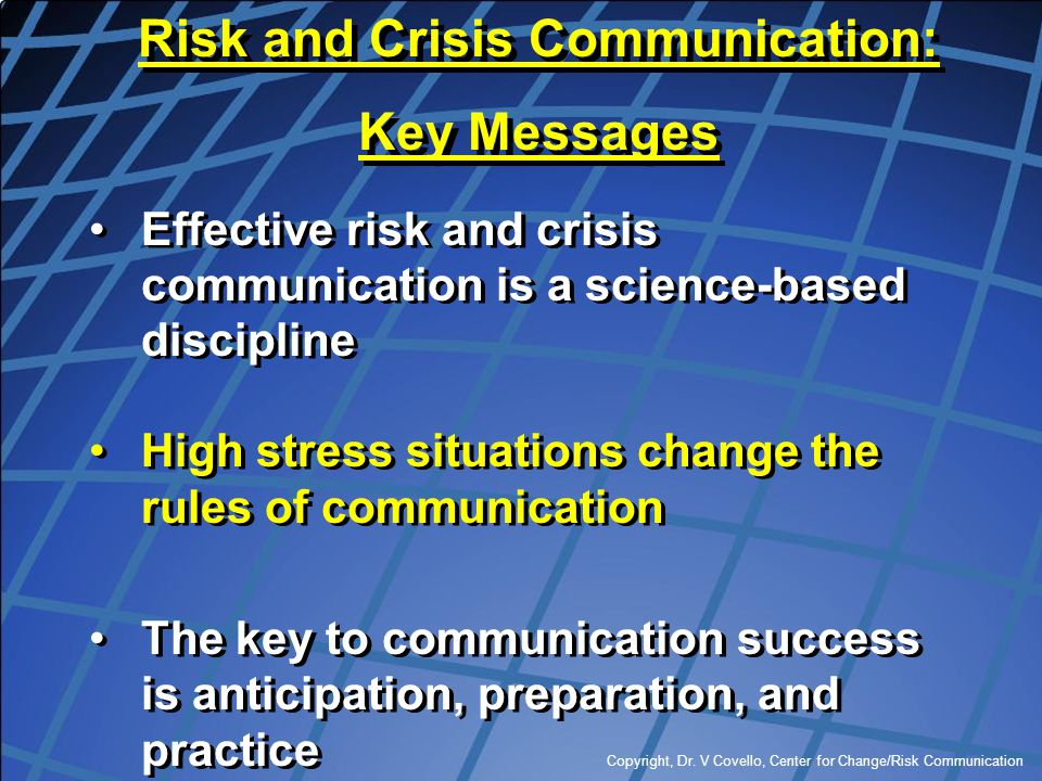 Risk and Crisis Communication: