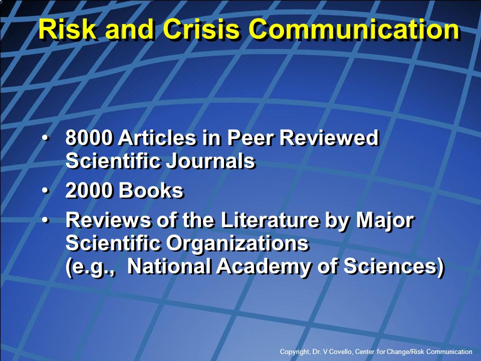 Risk and Crisis Communication
