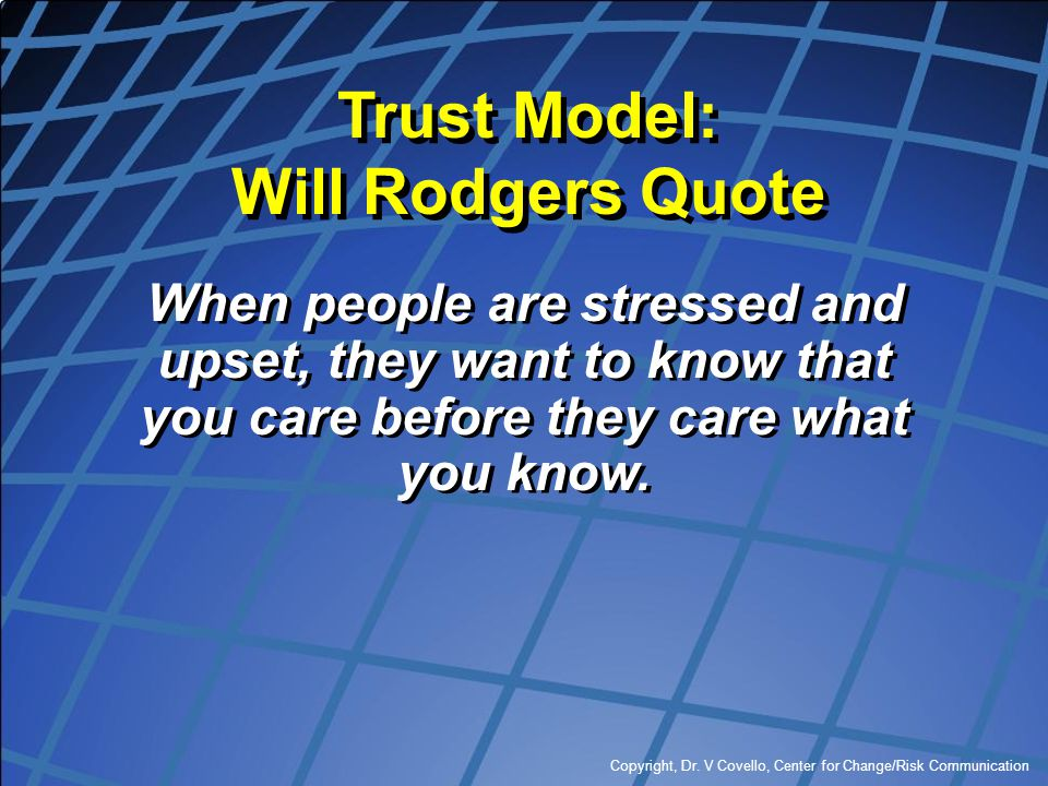 Trust Model: Will Rodgers Quote