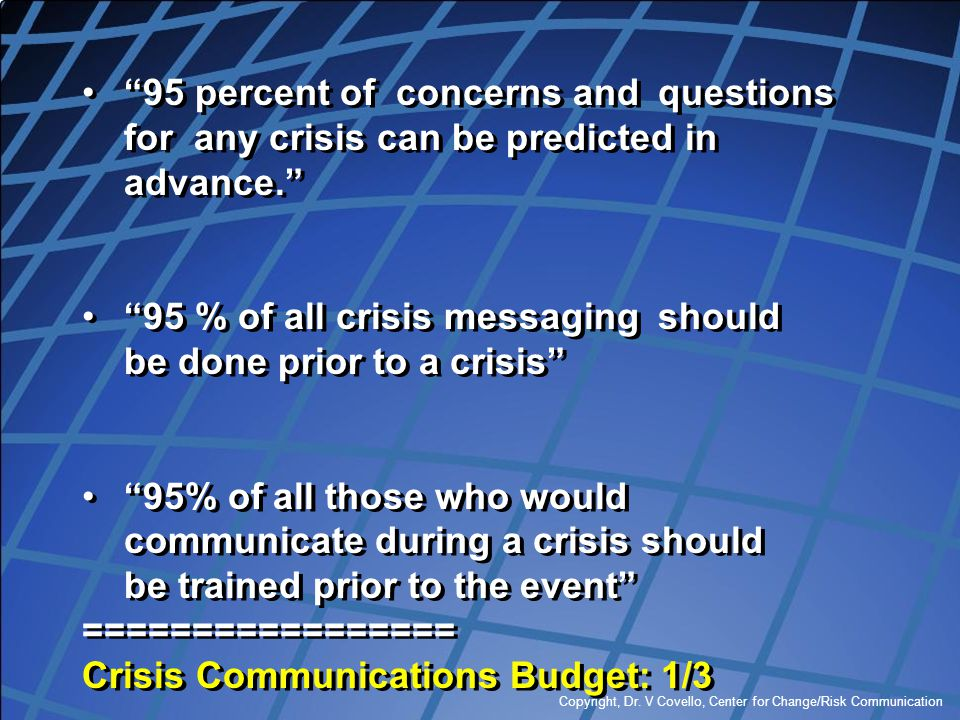 95 % of all crisis messaging should be done prior to a crisis