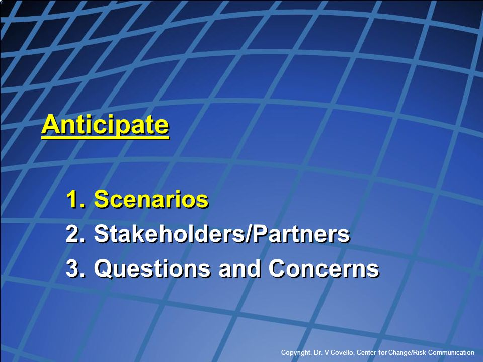 Anticipate Scenarios Stakeholders/Partners Questions and Concerns