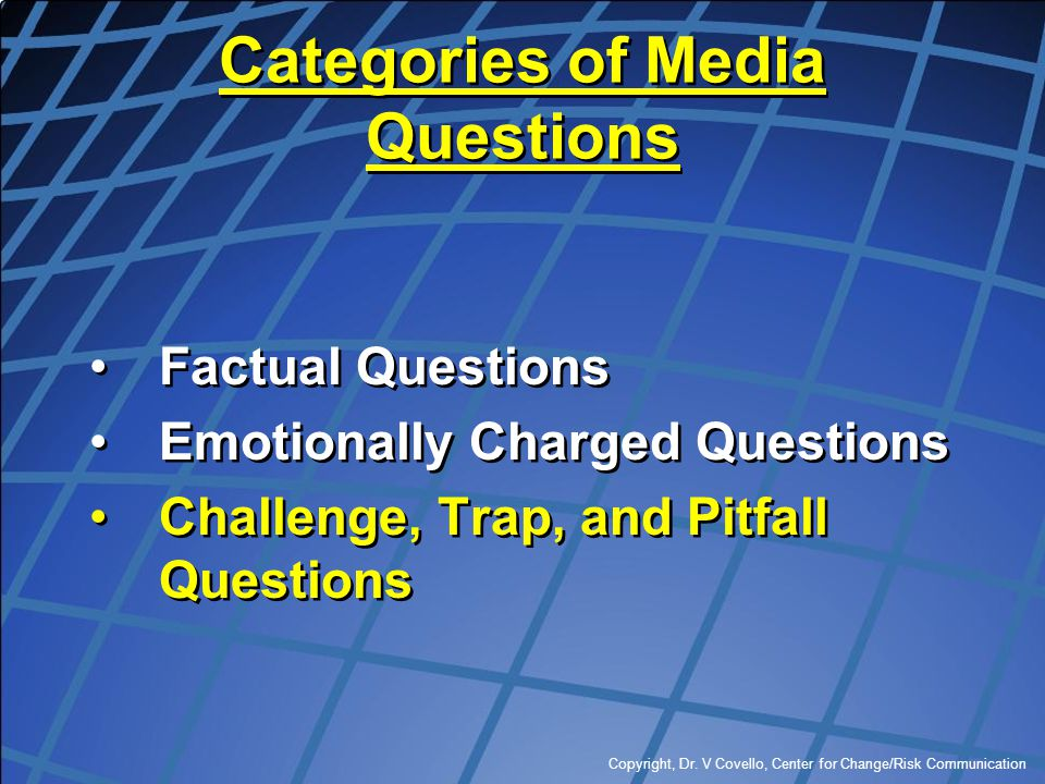 Categories of Media Questions