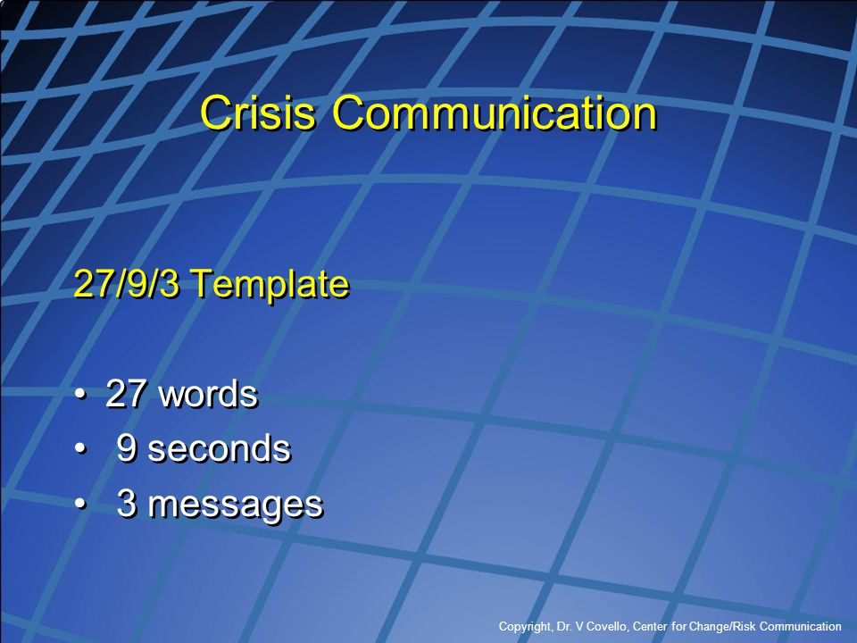 Crisis Communication 27/9/3 Template 27 words 9 seconds 3 messages