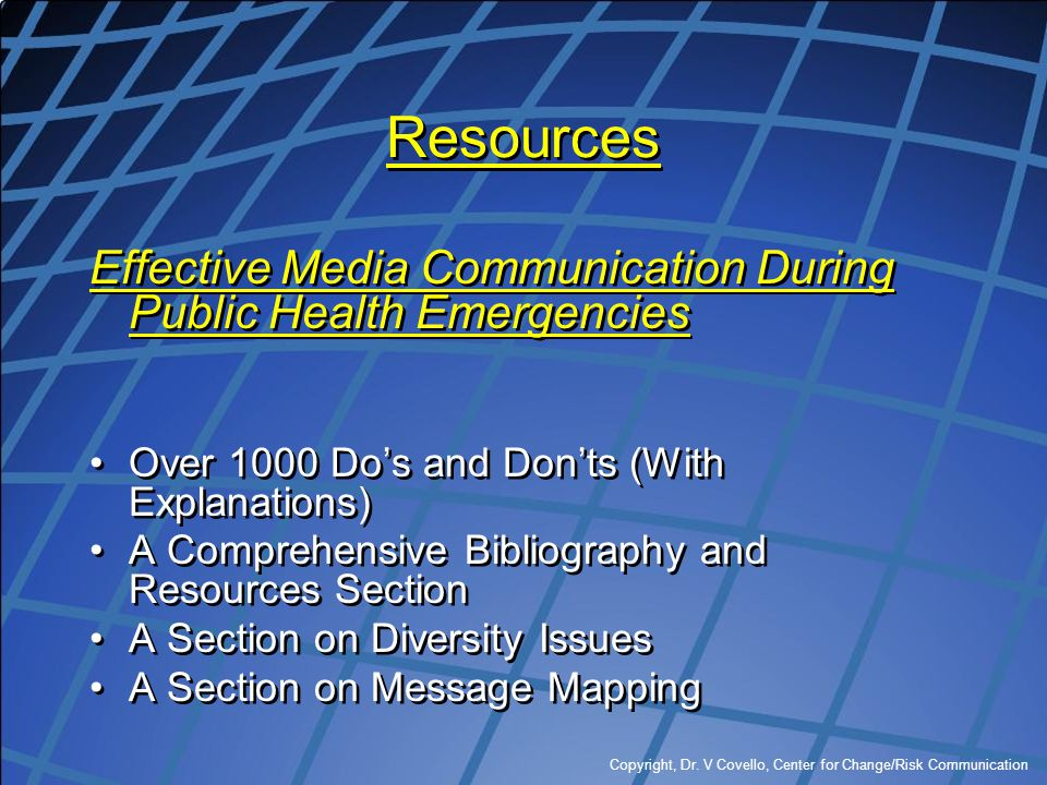Resources Effective Media Communication During Public Health Emergencies. Over 1000 Do's and Don'ts (With Explanations)