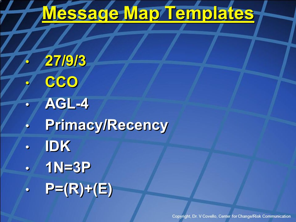 Message Map Templates 27/9/3 CCO AGL-4 Primacy/Recency IDK 1N=3P