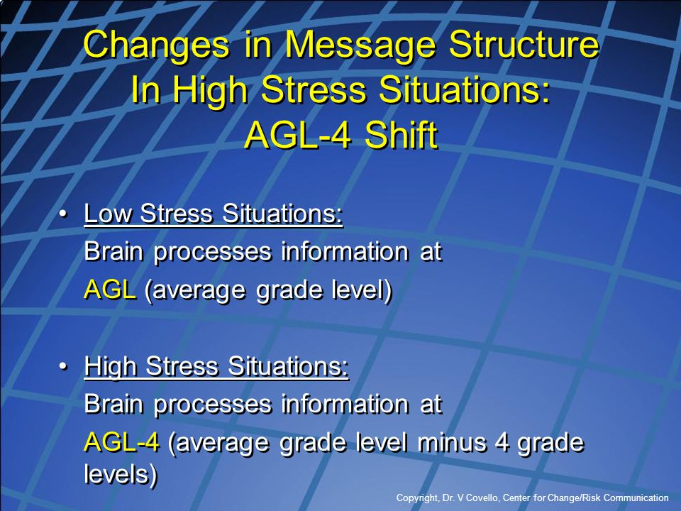 Changes in Message Structure In High Stress Situations: AGL-4 Shift