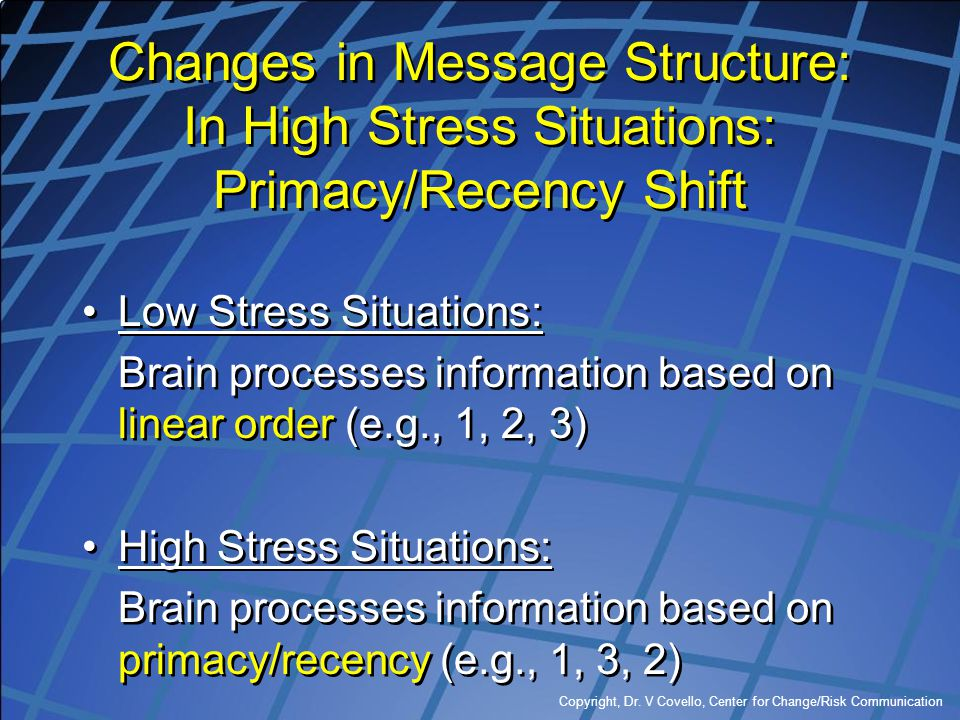 Changes in Message Structure: In High Stress Situations: Primacy/Recency Shift
