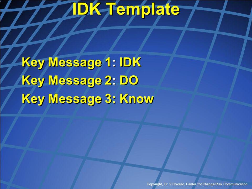 IDK Template Key Message 1: IDK Key Message 2: DO Key Message 3: Know