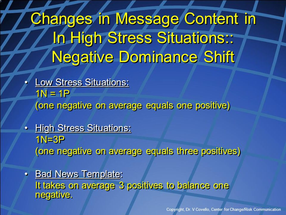 Changes in Message Content in In High Stress Situations:: Negative Dominance Shift