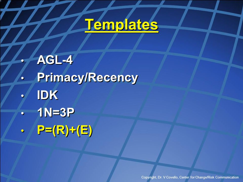 Templates AGL-4 Primacy/Recency IDK 1N=3P P=(R)+(E)