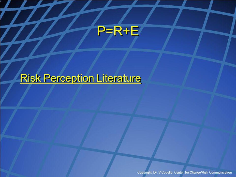 P=R+E Risk Perception Literature
