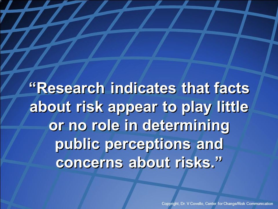 Research indicates that facts about risk appear to play little or no role in determining public perceptions and concerns about risks.