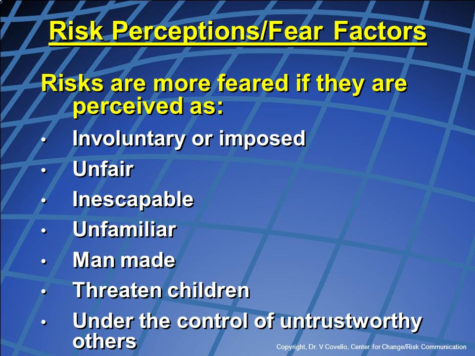 Risk Perceptions/Fear Factors