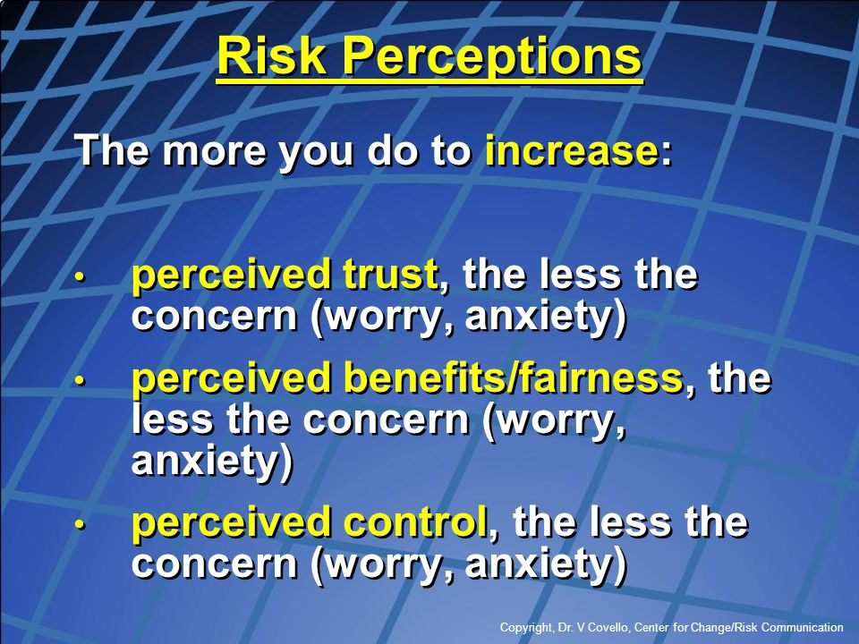 Risk Perceptions The more you do to increase: