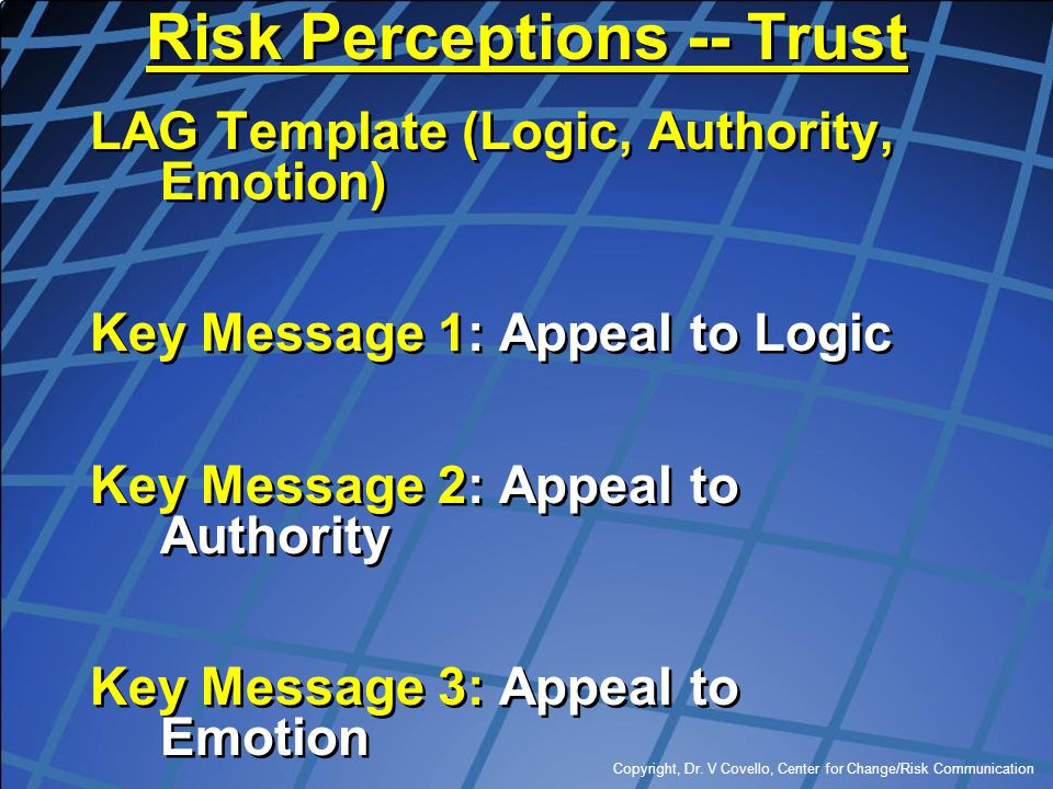 Risk Perceptions -- Trust