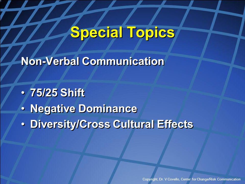 Special Topics Non-Verbal Communication 75/25 Shift Negative Dominance