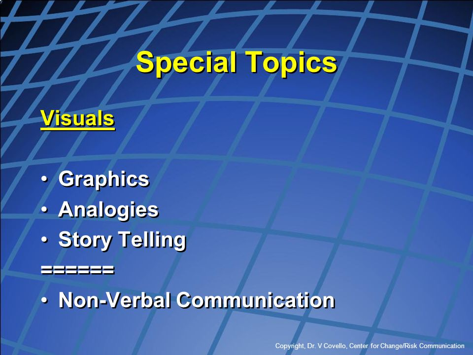 Special Topics Visuals Graphics Analogies Story Telling ======