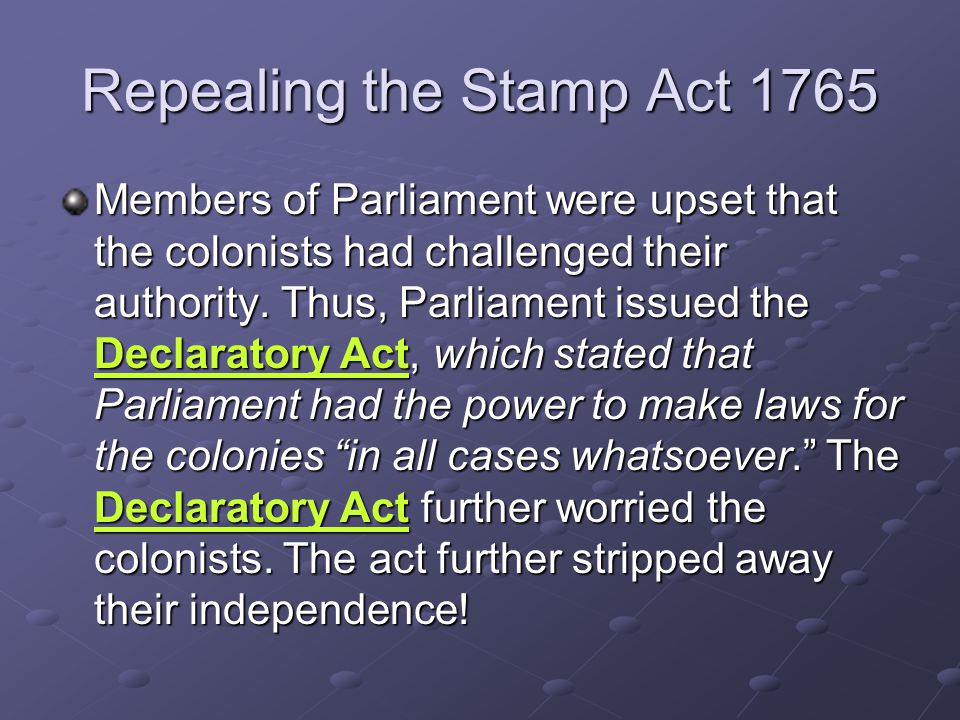 Repealing the Stamp Act 1765