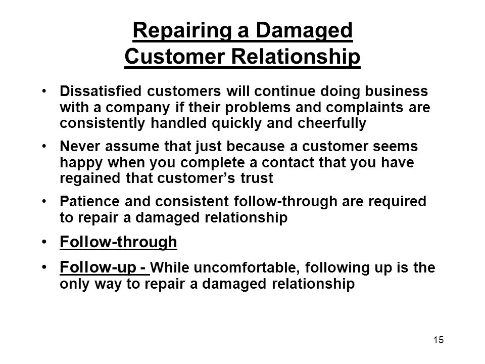 Repairing a Damaged Customer Relationship