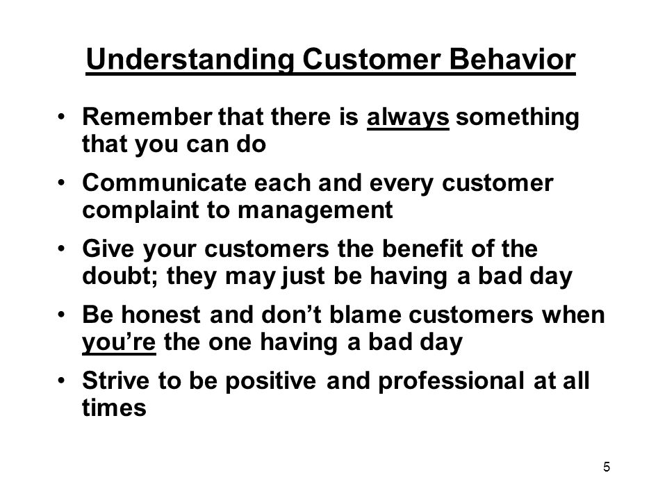 Understanding Customer Behavior