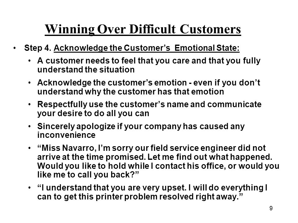 Winning Over Difficult Customers