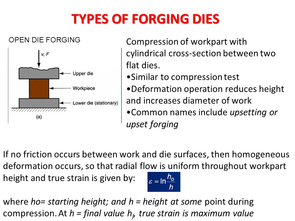TYPES OF FORGING DIES OPEN DIE FORGING. Compression of workpart with cylindrical cross-section between two flat dies.