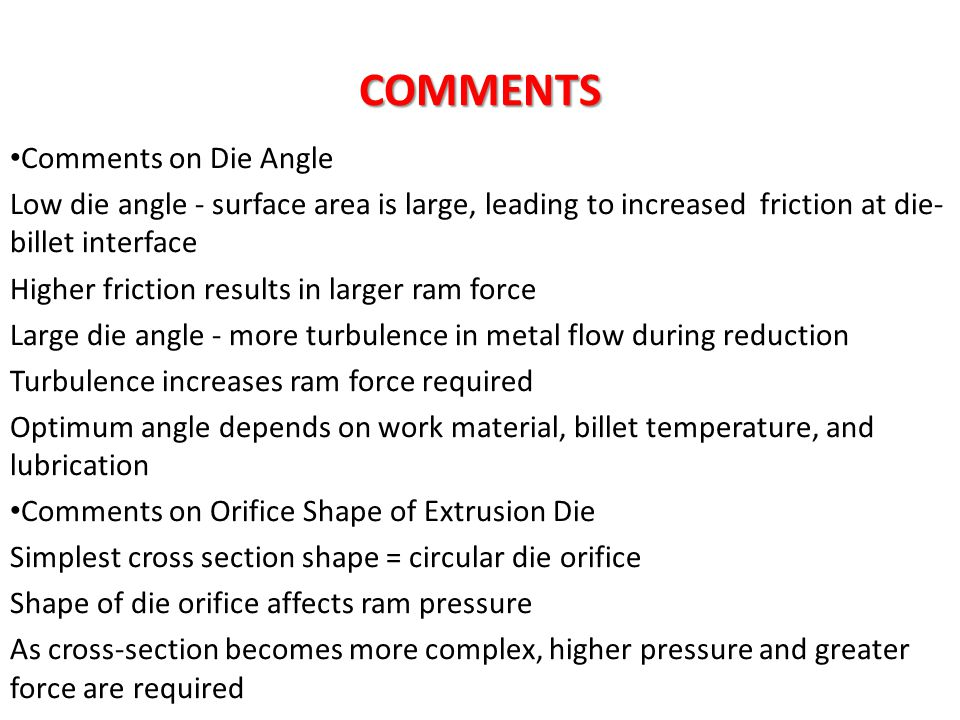 COMMENTS Comments on Die Angle