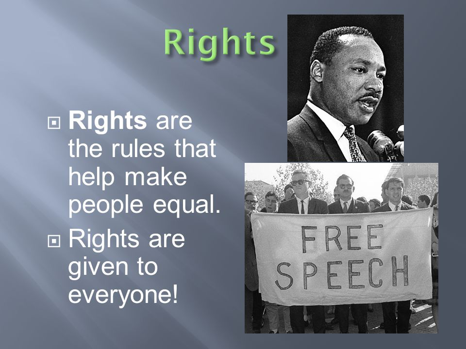Rights Rights are the rules that help make people equal.