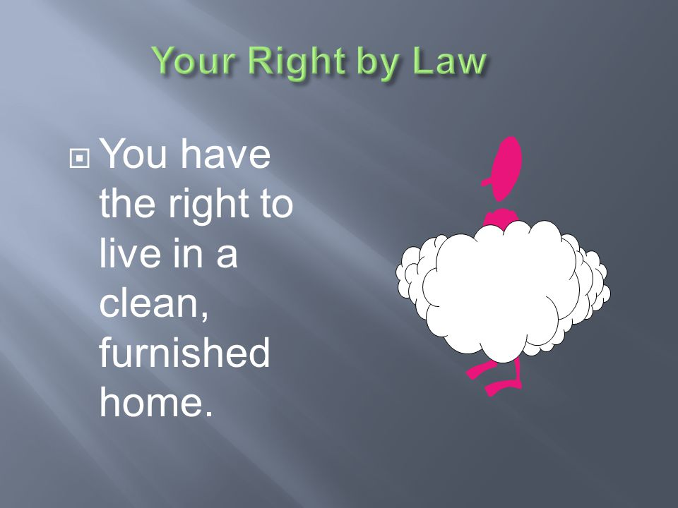 You have the right to live in a clean, furnished home.
